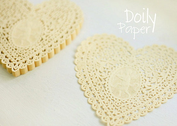 Lovely Cupid Heart Paper Doilies 5.7 inch - YELLOW (30 sheets)