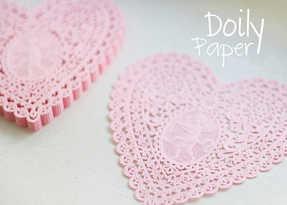 Lovely Cupid Heart Paper Doilies 5.7 inch - PINK (30 sheets)