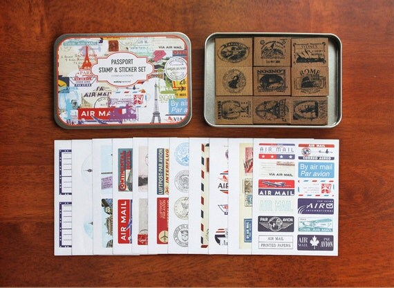 Passport Stamp and Sticker in Iron Case (9 stamps, 11 sticker sheets, rubber pad, case)