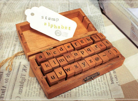 Antique style Alphabet Small Letters Wooden Stamps Box (30 stamps)
