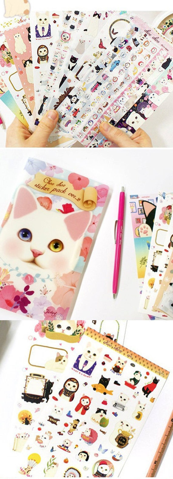 Adorable Cat Stickers in File case Ver.2 (8 sheets)
