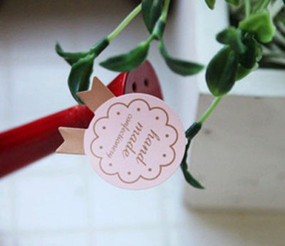 Cute Medal Stickers for Handmade Products - Pink (50 pcs)