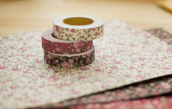 3 SET - Antique Flower Fabric Deco Tape 0.6 inch (adhesive)