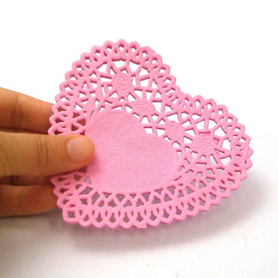 Rose Heart Paper Doilies 4 inch (50 sheets) - Pink