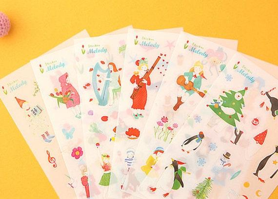 Beautiful Melody Illust Stickers (6 sheets)