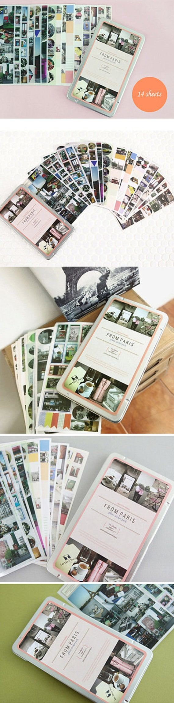 Photo Stickers Tin Case Pack from PARIS (14 sheets)