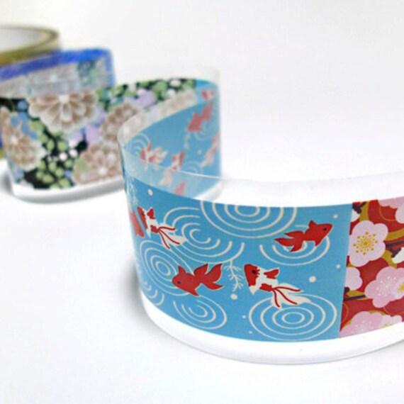 Japanese Pattern Illust Decor Tape 1.6 inch (adhesive)