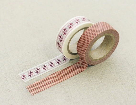 2 SET - Red Patchwork Martha Adhesive Masking Tapes 0.6 inch