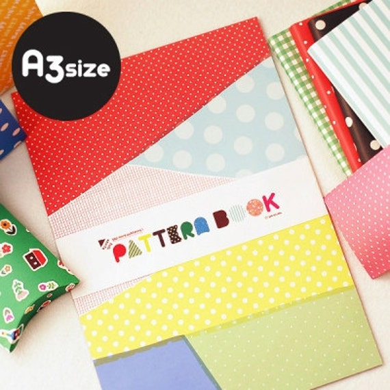 A3 Double-sided different printing Pattern book Papers for Packing (16 sheets)