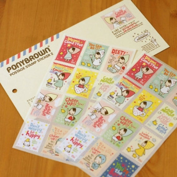 Cute Bandana Girl Postage Stamp Style Stickers Ver. 2 (2 sheets)