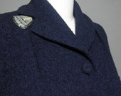 vintage 1940s Navy Wool Boucle Coat with Beaded Collar Detail