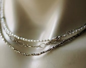 Layered Sterling Silver and Freshwater Pearls