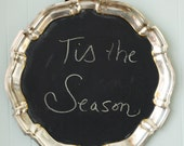 Vintage Silver Tray Recyled into a Fabulous Wall Blackboard for Notes and Reminders-RUSH Shipping