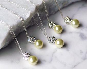 Clarissa Custom Pearl Drop Sterling Silver Bridal WEDDING Necklace
