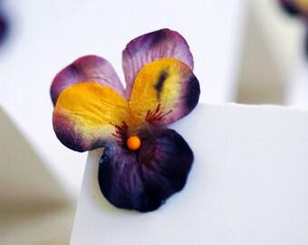 Set of 24 - Purple Paper Viola Place cards Summer Wedding Dinner Party Garden Party escort