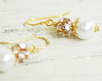 Clarissa, White Pearl & Gold Design Your Pearl Drop Bridal Earrings Wedding Bridesmaids Jewlery