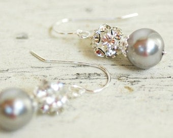 Clarissa, Silver Pearl & Sterling Silver Design Your Pearl Drop Sterling Silver Bridal Earrings Wedding Bridesmaids Jewlery