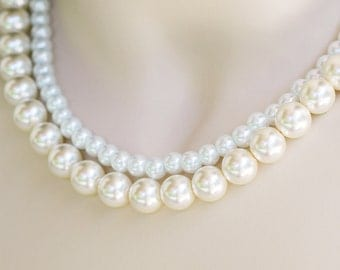 Leslie Design the Perfect Bridesmaid Necklace-Pearl Two (2) Strand Necklace w/Ribbon Tie Custom WEDDING JEWELRY Maid of HONOR