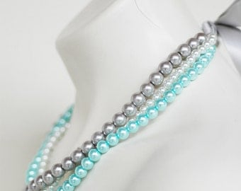 Angela - Perfect Bridesmaid Necklace-White, Silver & Turquoise, Triple Strand Pearl Necklace w/Ribbon Tie WEDDING JEWELRY Maid of HONOR