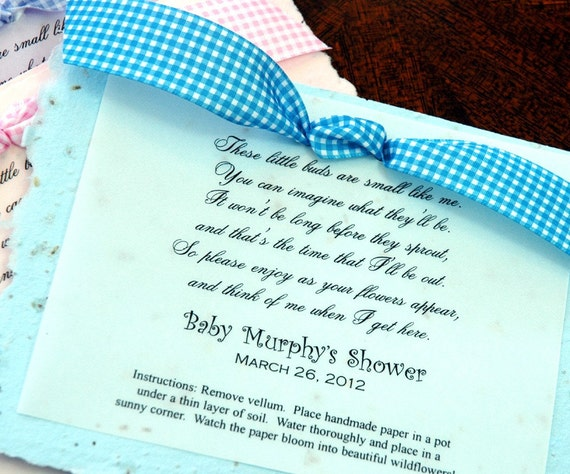 baby poem plantable baby shower party favor by whitetulipboutique