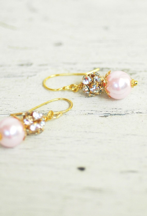 Clarissa, Pink Pearl & Gold Design Your Pearl Drop Bridal Earrings Wedding Bridesmaids Jewlery