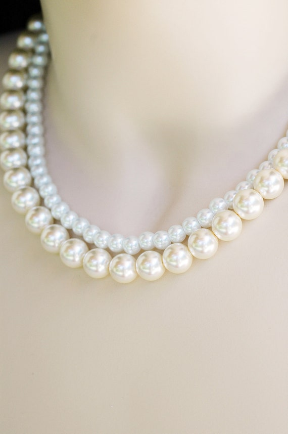 Set of 3 - Leslie Design the Perfect Bridesmaid Necklace-Pearl Two (2) Strand Necklace w/Ribbon Tie Custom WEDDING JEWELRY Maid of HONOR