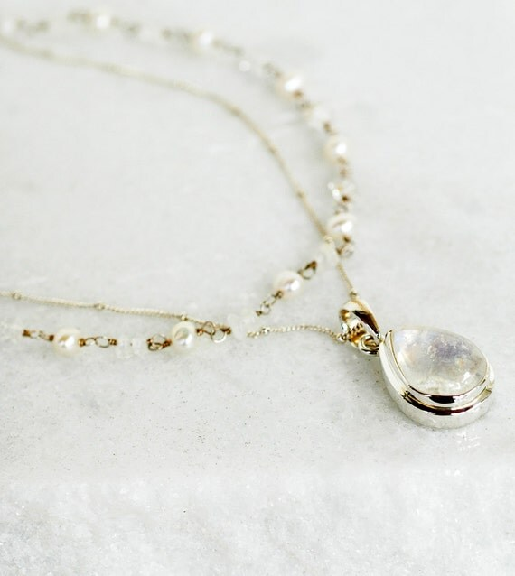 Moonstone Freshwater Pearls Sterling Silver Necklace meditation and healing, the energy
