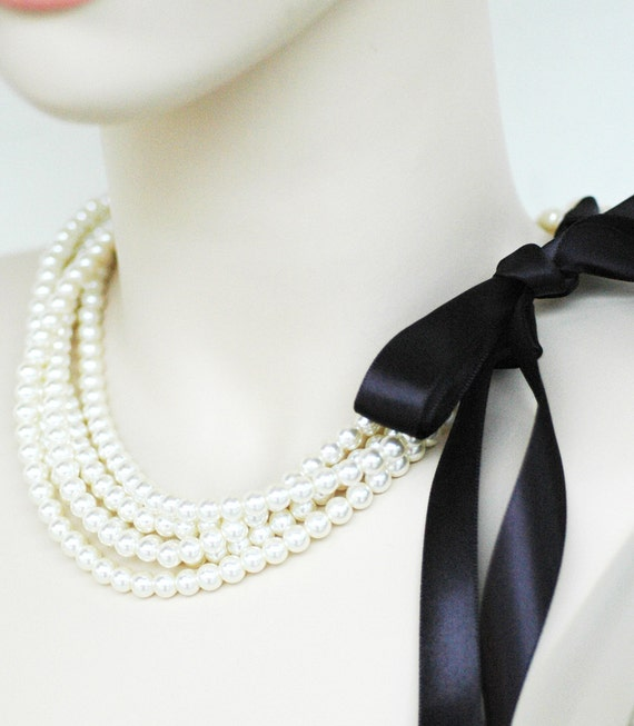 Chloe - Perfect Bridesmaid Necklace-Ivory Glass Pearls Necklace w/Ribbon Tie WEDDING JEWELRY Maid of HONOR