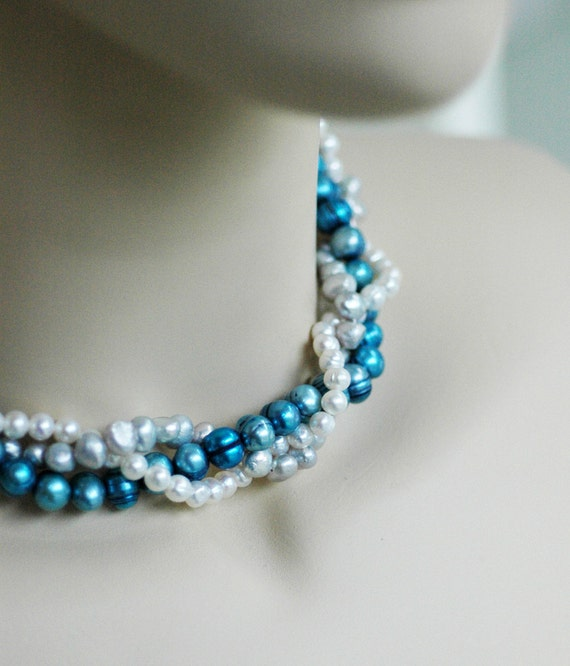 Shelly - Perfect Bridesmaid Necklace-Bold Blue Silver & Ivory/White Necklace w/Ribbon Tie WEDDING JEWELRY Maid of HONOR