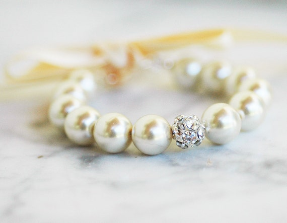 Clarissa Silver Adjustable Bridal Bracelet WEDDING Bridesmaids Flower Girl Mother Daughter Custom Pearl Jewelry