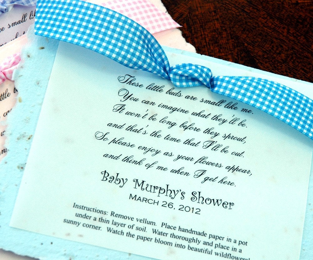 baby poem plantable baby shower party favor by baby shower