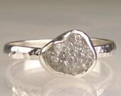Natural Rough Diamond Engagement Ring - Palladium Sterling