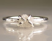 Rough White Diamond Ring in Recycled Sterling