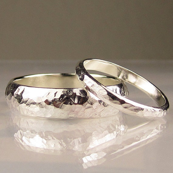 Recycled Sterling Silver Wedding Band Set
