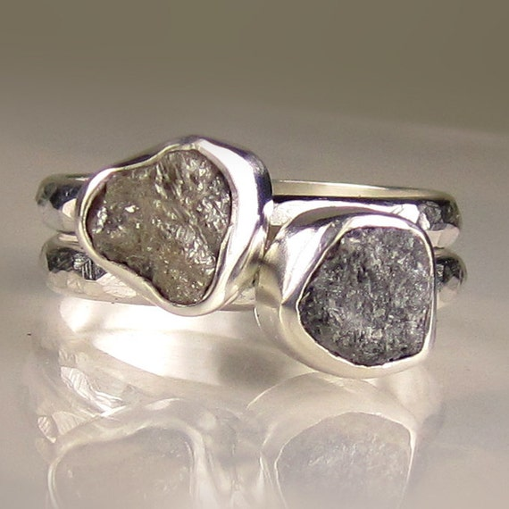 Rough Diamond Stacking Ring Set- Dynamic Duo in Recycled Sterling - Made to Order
