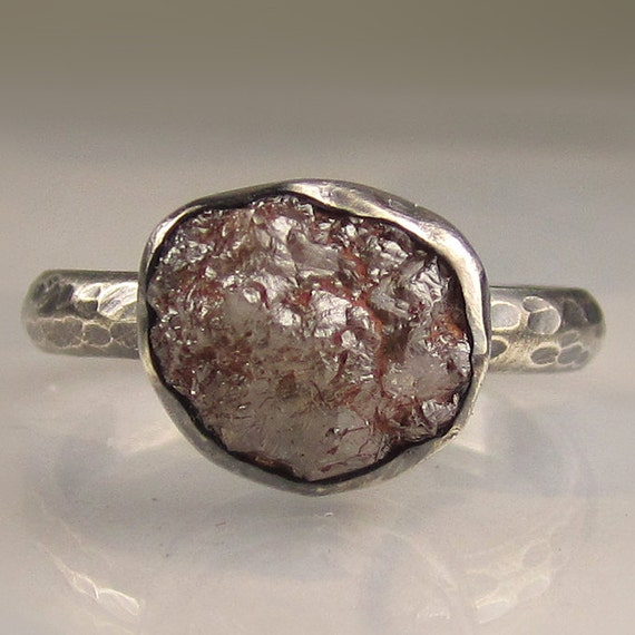 Rough Diamond Ring - Oxidized Recycled Sterling - 4.7CTS