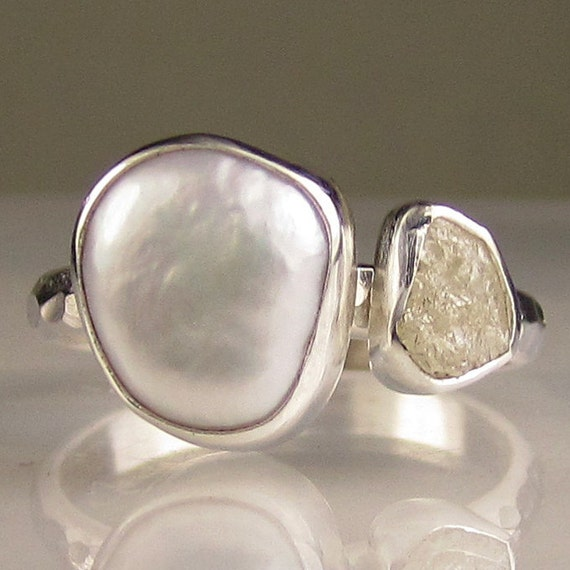 Baroque Pearl and Rough Diamond Ring - Recycled Palladium Sterling