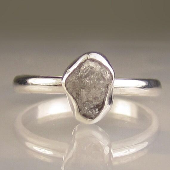 Rough Diamond Ring - Recycled Palladium Sterling