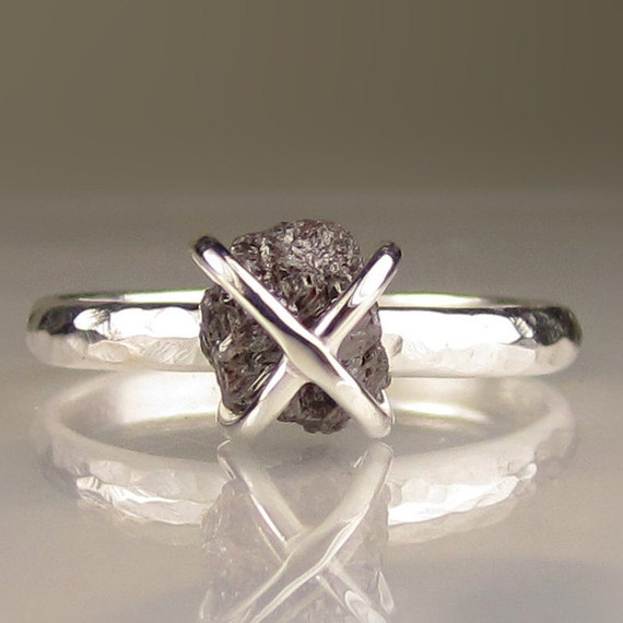 Rough Diamond Ring - Caged Diamond in Recycled Sterling - 2.05CTS