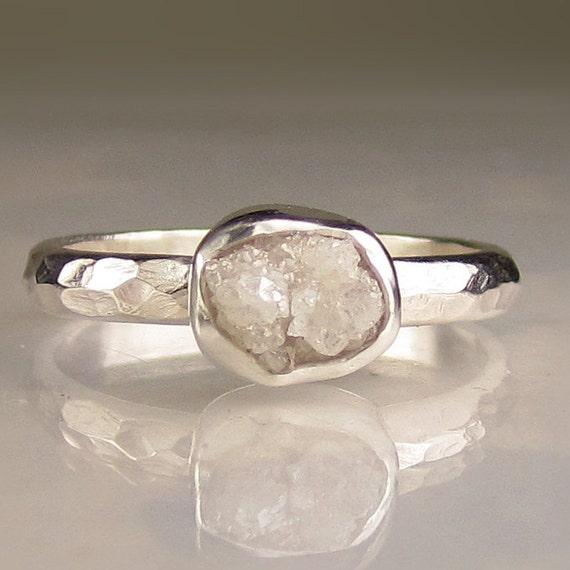 Raw White Diamond Ring - Recycled Palladium Sterling