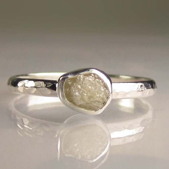 Raw Rough Diamond Ring - Palladium Sterling