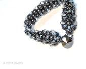 black pearl bracelet . swarovski pearl & crystal statement bracelet . bridal . bridesmaid gift . mother of the bride. pageant