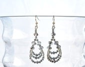 silver sparkle earrings . swarovski crystal . beaded . wedding jewelry . pageant . special occasion .