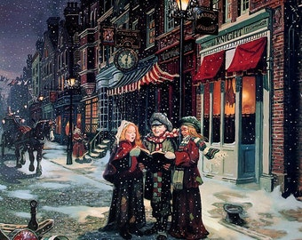 Christmas Carolers Downloadable Printable Digital Art Image
