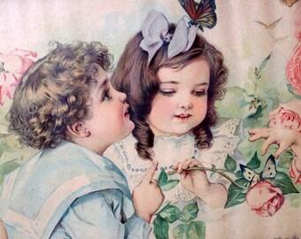 Butterflies, Roses and Children Digital Art Downloadable Printable Image