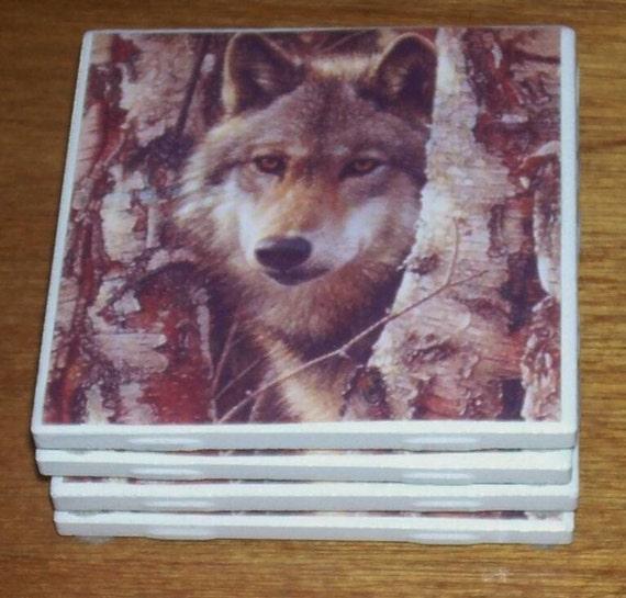 Ceramic Tile Wolf Coasters Set of 4 Men's Gift or Backsplash RESERVED FOR ANEUR