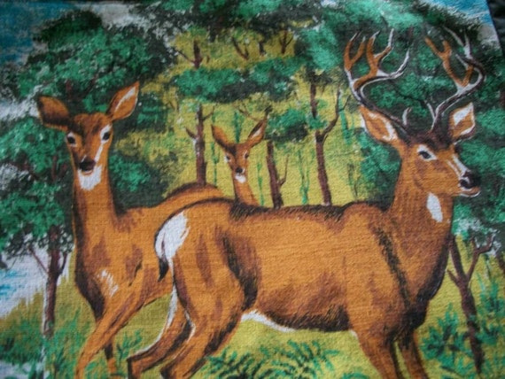 Bark Cloth Tote Bag Deer and Canada Geese