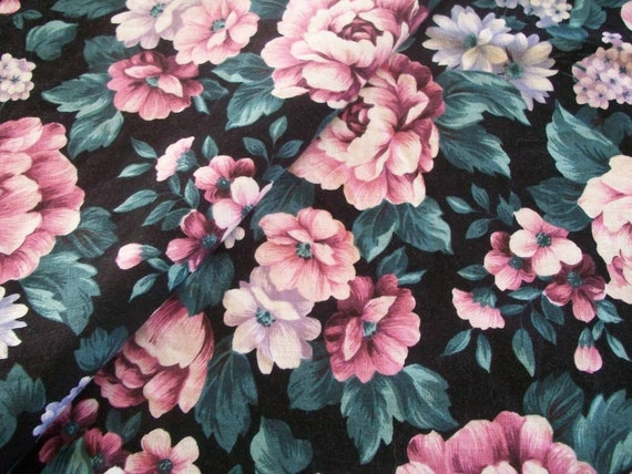 Floral Vintage Fabric Destash Cotton Blend