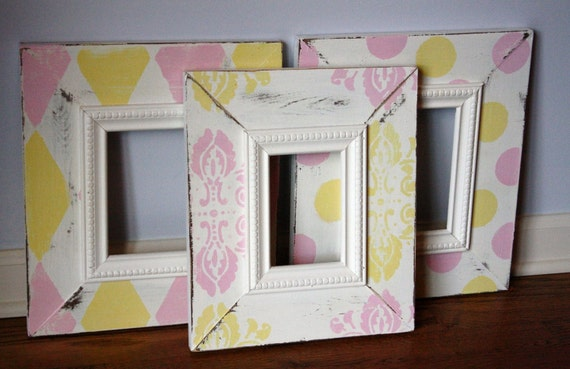 Set of Distressed Frames in White, Pink, Yellow - Two 5x7s and One 4x6 - or Choose Custom Colors