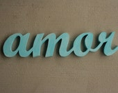 Amor sign in distressed Island Blue